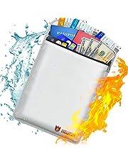 Bolsa de documentos ignífuga con revestimiento de silicona, resistente al fuego y cierre de cremallera, bolsa de almacenamiento seguro para dinero, documentos, joyas y pasaporte 38CM*28CM
