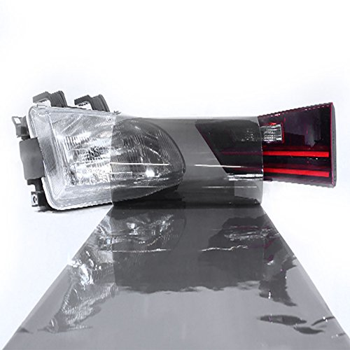 "LinkedGo Self Adhesive Light Black Gloss Vinyl Headlight Foglight Tail Tint Wrap (12""x72"")"