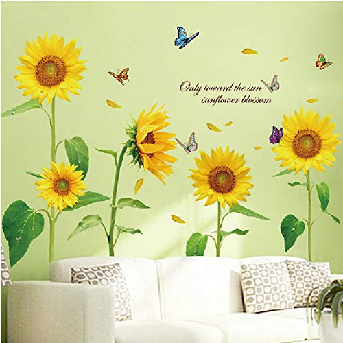 Retro Flower Wall Sticker - WMdecal Removable Large Flowers Vinyl Wall Decal Peel and Stick TV Wall Decoration Wall Art Big Size Mural Stickers for Living Room (Yellow)