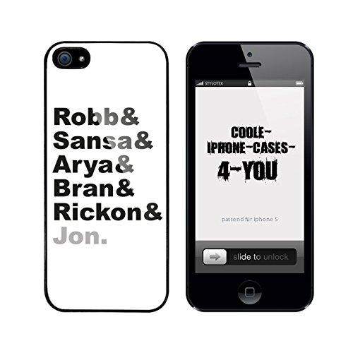 Iphone 5 / 5S Schutzhülle Robb & Sansa & Arya & Bran & Rickon & Jon. - schwarzer Rahmen