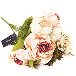 KINGSO Artificial Peony Silk Flowers Bouquet Home Wedding Decoration