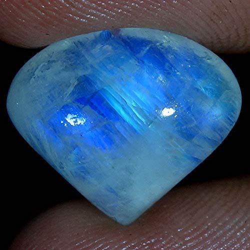 dadu_creation 9.20CTs.100% Natural Blue Flashing Rainbow Moonstone Heart CABOCHON Gemstone