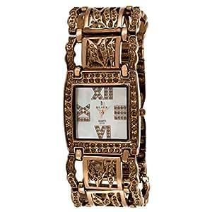 Black Royale Women's White Dial Brass Band Watch - 10536LSBB