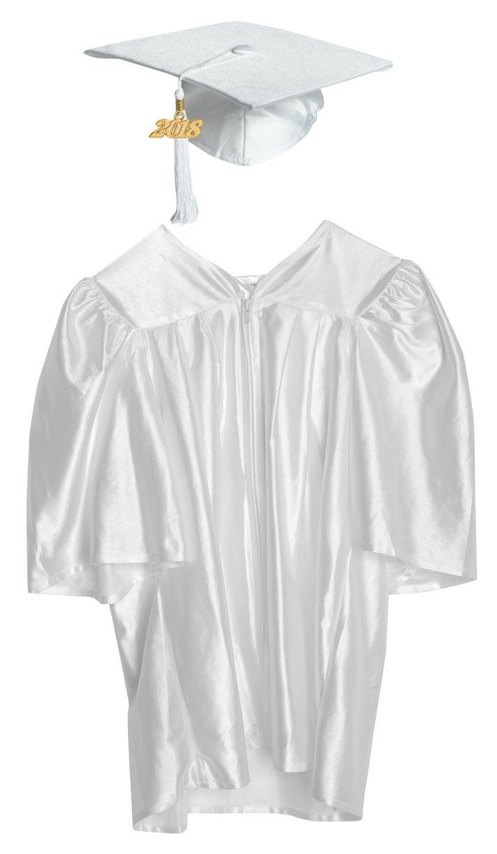 Budget Graduation White Shiny Preschool Cap and Gown Graduation Set ...