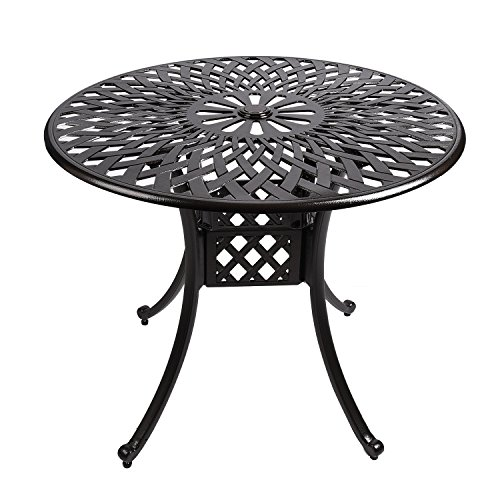 """YUSING Bistro Patio Table,35"""" Round Cast Aluminum Outdoor Dining Conversation Table with Umbrella Hole for Garden, Porch, ()"""