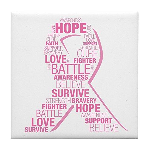 CafePress - Breast Cancer Ribbon Collage - Tile Coaster, Drink Coaster, Small Trivet