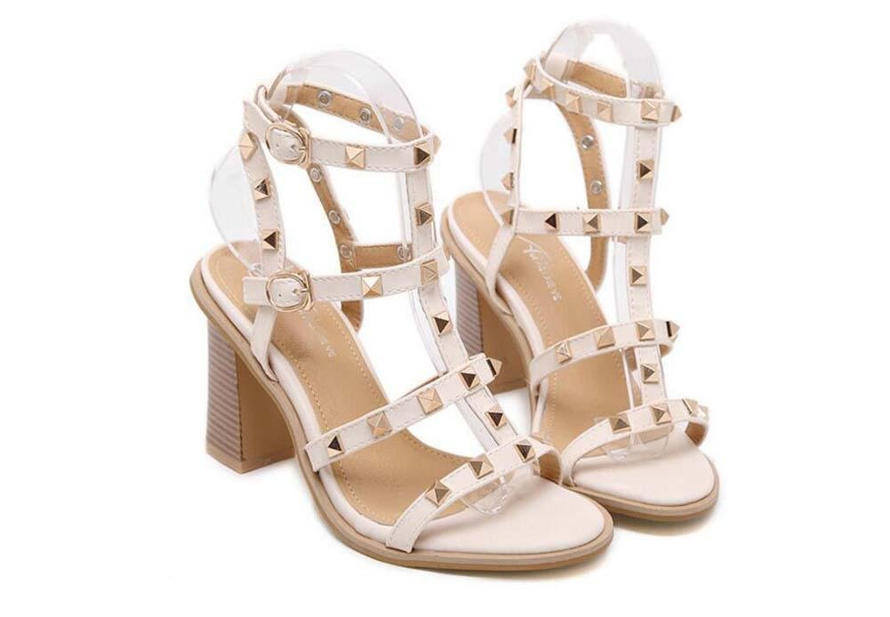 Pompe 10cm Chunkly Heel Open Toe Slingback Rivets romain Des sandales Dame Simple Creux Rivets Sangle de cheville Talons hauts Des sandales Chaussures habillées Chaussures décontractées Chaussures de