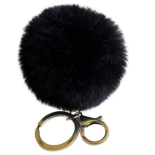 SUPPION Rabbit Fur Ball Keychain Bag Plush Car Key Ring Car Key Pendant (Black)