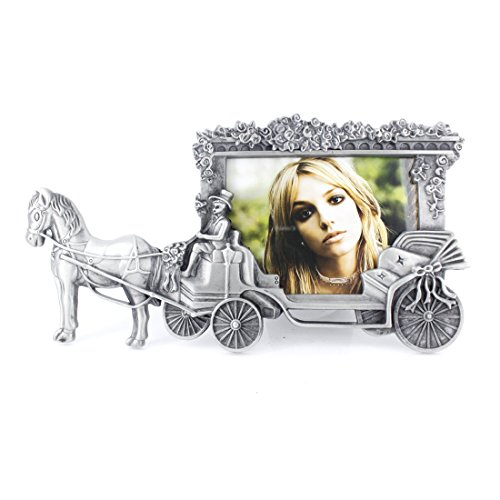 3.5x5 Inches Horse Carriage Desktop Display Picture Frame (Antique Silver)