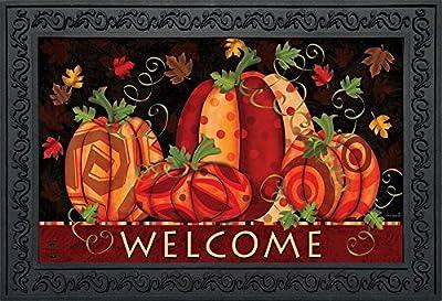 """Briarwood Lane Fall Festival Pumpkins Doormat Welcome Primitive Indoor Outdoor 18"""" x 30"""""""