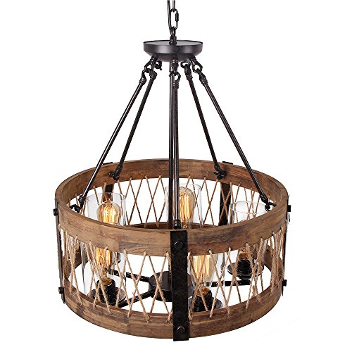 Rustic Ceiling Light Rustic Light Fixture Rustic Wood: Anmytek Round Wooden Chandelier With Clear Glass Shade