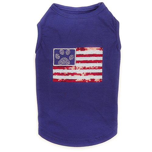 Zack & Zoey Sequin Flag UPF40 Tank Top for Dogs, Small, Blue