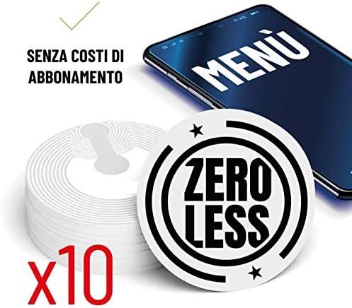 Zeroless Menü Digital NFC Stickers 10 Aufkleber kompatibel mit Android IOS für Restaurants, Bars, Hotel, Strände