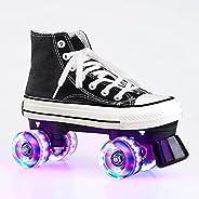 Quad Roller Skate for Adults, Roller Skates Light Up Wheels, Cozy Canvas Indoor Outdoor Double-Row Roller Skat
