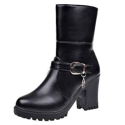 ❤ Botas para Mujer Zapatos de tacón Alto, Cuero, Punta Redonda Zapatos de tacón Alto, Mantener Calientes Botas de algodón de otoño de Invierno Absolute: ...