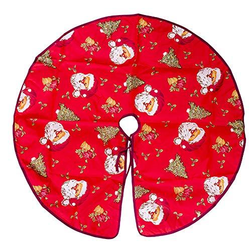 Ocamo Floor Mat Pretty Printing Christmas Tree Skirt Flower Base Floor Mat Cover for Christmas Party Decor Santa Claus Head Diameter ()