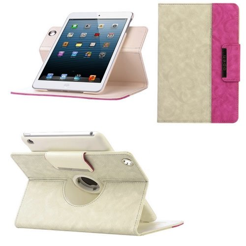 360 Degree Swivel Rotating PU Leather Case Smart Cover Swivel Stand For iPad Mini 7.9 Inch-Beige and Rose