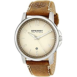 Sperry Top-Sider Men's 10018701 Seasider Stainless Steel Watch with Brown Leather Band