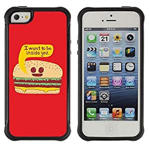 Hybrid Anti-Shock Defend Case for Apple iPhone 5c 5c Burger hjbrhga1544