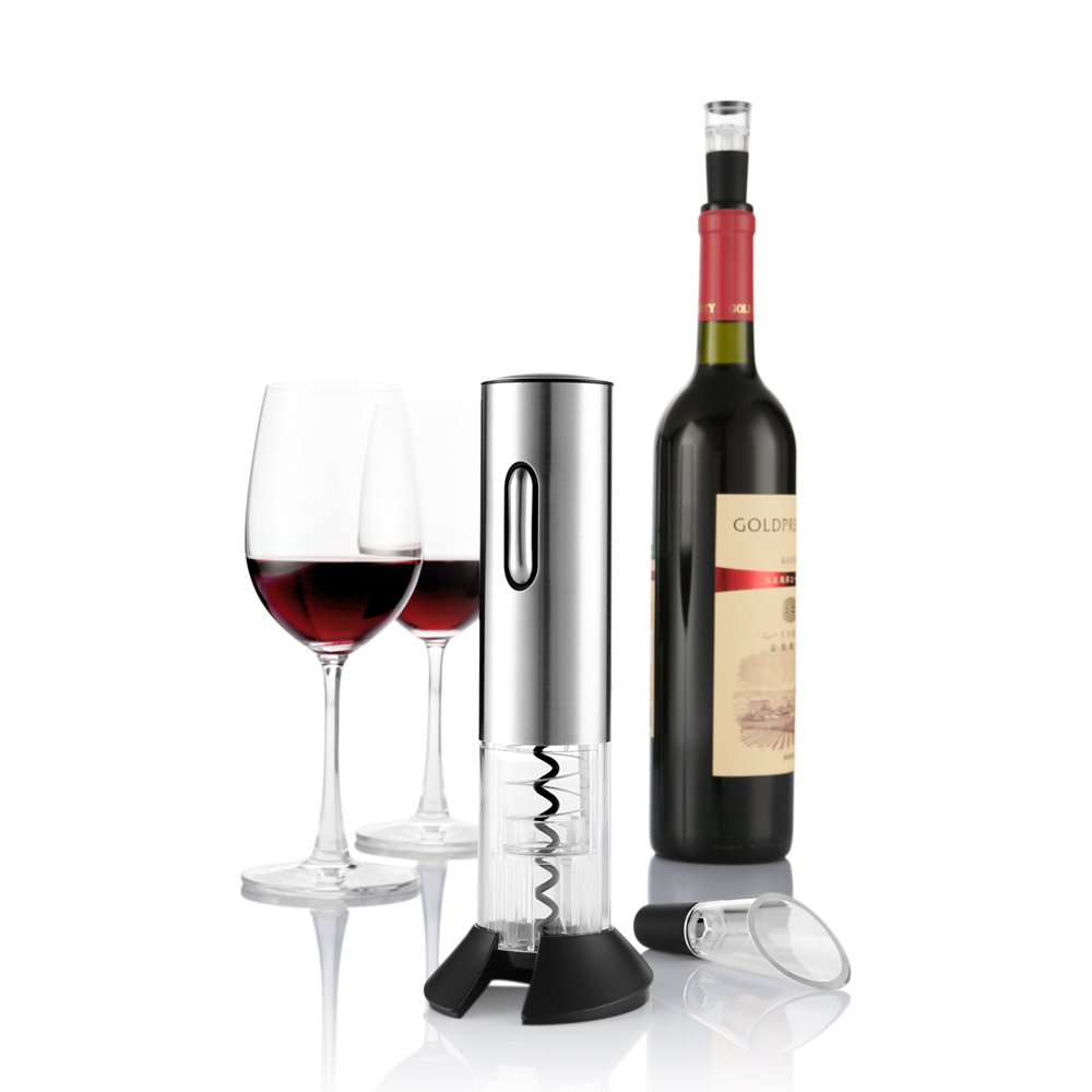 Zanmini Automatic Wine Opener, Electric Wine Opener Stainless Steel Cordless Wine Opener Set, with Wine Aerator Pourer and Foil Cutter Wine Pourer Vacuum Stopper Silver Gearbest CA