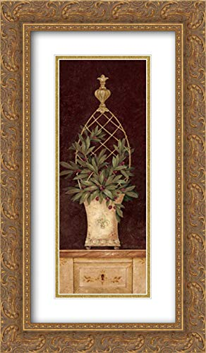 Olive Topiary I 9x18 Gold Ornate Frame and Double Matted Art Print by Gladding, Pamela