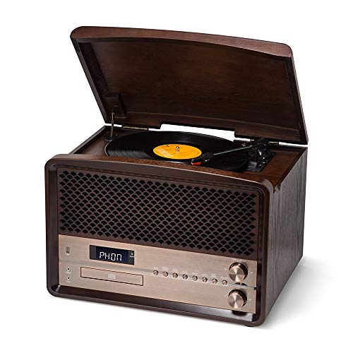 Rcm Retro 6-in-1 Wireless Vinyl Record Player Natural Wood Music System with Turntable, FM Digital Radio, CD, USB for MP3 Play & Recording, Built-in 20 Watts Powerful Stereo Speakers