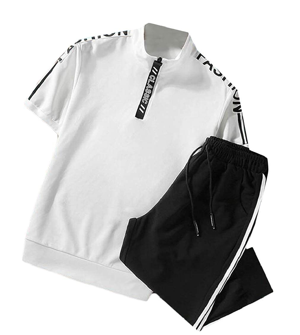SHOWNO Mens Stand Collar T-Shirts Two Pieces Workout Shorts Sweatsuit Outfit Set