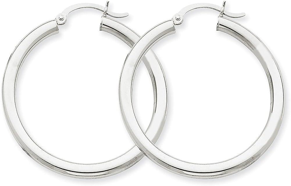 Lex /& Lu 14k White Gold 3mm Round Hoop Earrings LAL81472