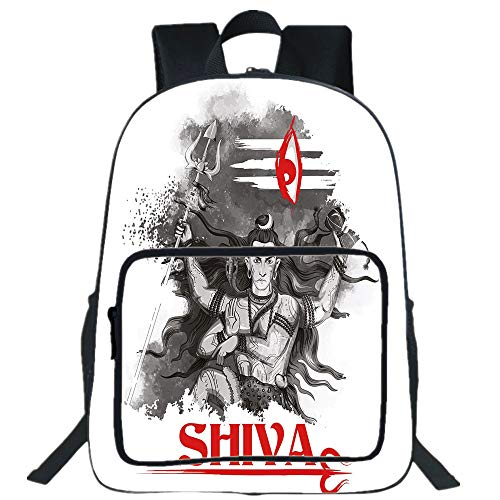 ual Backpack,Ethnic,Religious Figure of Ethnic Religion Holding Trident Red Eye on Stripes Artistic,Grey Red White,for boys girls ()