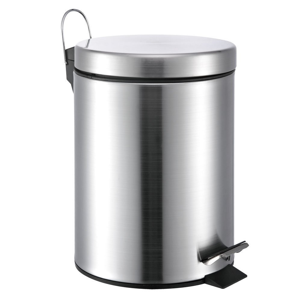 amazoncom 5 liter13 gallon small round stainless steel step trash can home u0026 kitchen