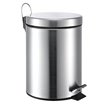 white metal trash can 13 gallon stainless steel compactors for sale garbage home depot canada liter small round step