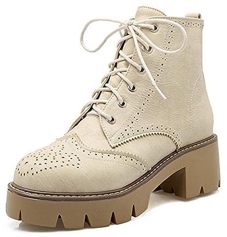 Summerwhisper Women's Vintage Round Toe Lace up Brogue Boots Shoes Block Medium Heel Platform Ankle Booties Beige 9.5 B(M) US