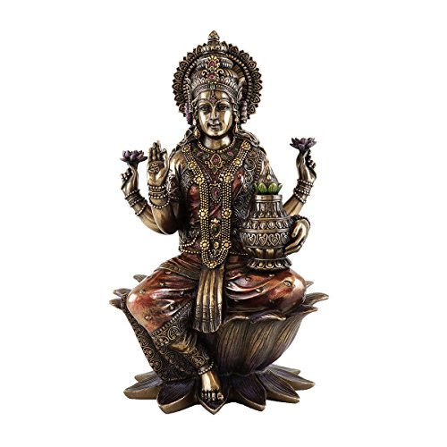 - 12-inch Seated Lakshmi Hindu Goddess of Good Fortune and Wealth Real Bronze Powder Cold Cast Statue