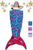 Mermaid Tail Blanket for Girls Flannel Soft All Season Sleeping Blankets Bag Bedroom Warm Comforter Mermaid Birthday Halloween for Toddler Kids 3-14Y
