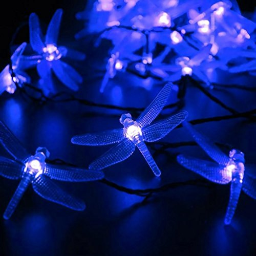 Blue Dragonfly Night Light (DZT1968 5M 20LED Solar Hard Dragonfly Light String Christmas Wedding Party Decoration)