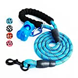 #6: Fukkie 5 FT Strong Dog Leash with Comfortable Padded Handle and Highly Reflective Threads, Heavy Duty Nylon Rope Leashes for Medium and Large Dogs, Blue