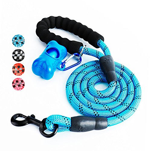 Toozey 5 FT Dog Leash, Rope Leash with Comfortable Padded Handle and Reflective Threads, Heavy Duty Braided Leash for Medium Large Dogs, Blue (Blue Leash)