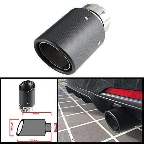 - Jzz Universal Matte Carbon Fiber car Exhaust Muffler Tip Automobile carbon Exhaust tip Pipe Tail 2.5'' Inlet 3.5'' Outlet Diameter