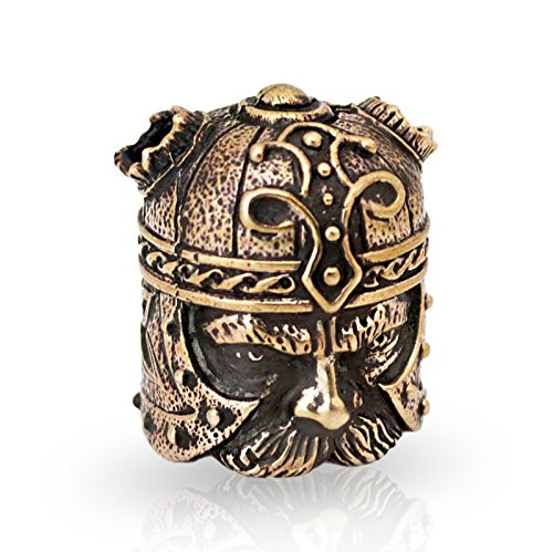VIKING Paracord Bead for Making DIY Bracelet or EDC Lanyard - Unique Design - Hand-Cast in Solid Brass, Blackened & Polished from Unique Handmade Arts & Crafts
