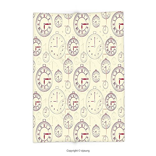 Custom printed Throw Blanket with Clock Decor Vintage Watches with Roman Digits Wallpaper Pattern Decorative Illustration Cream Maroon Super soft and Cozy Fleece Blanket (Manhattan Watch Set)
