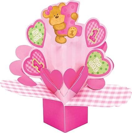 Centro de relieve en diseño de flores oso de peluche es para primer cumpleaños de niña