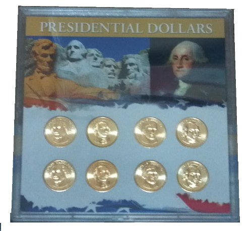 2007 P, D Presidential Dollar 8 Coin Set in 6×6 Plastic Holder with Full Color Inserts Uncirculated