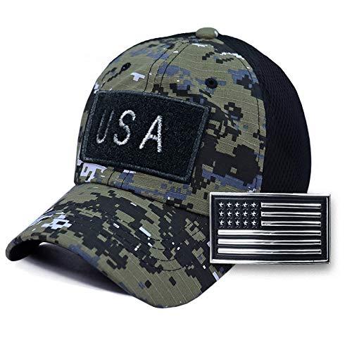 USA American Flag 3D Chrome Patch Tactical Hat Mesh Back Adjustable Baseball Cap