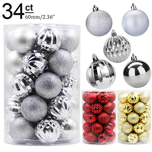 Lulu Home Christmas Ball Ornaments, 34 Pack Xmas Tree Decorations Hanging Balls Silver 2.36'' (Christmas Tree Decorations Food)