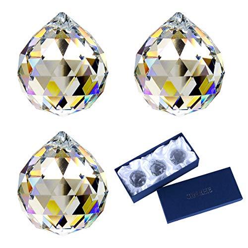 SINEHE Clear Crystal Prism Ball Rainbow Maker Window Prisms Suncatcher, 40MM / 3 Pack
