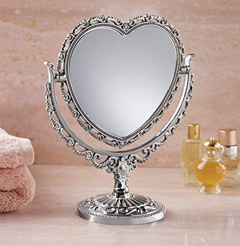 The Paragon Two Sided Mirror, Rectangular Shaped Silver Tone Victorian Style Vanity Mirror