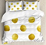 Gold and White King Size Duvet Cover Set by Ambesonne, Ombre Polka Dots Circles Ancient Coins Inspired Brush Print Like Image, Decorative 3 Piece Bedding Set with 2 Pillow Shams, Yellow and White