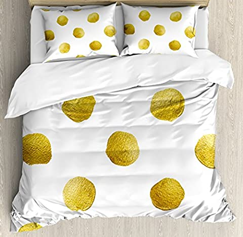 Gold and White Queen Size Duvet Cover Set by Ambesonne, Ombre Polka Dots Circles Ancient Coins Inspired Brush Print Like Image, Decorative 3 Piece Bedding Set with 2 Pillow Shams, Yellow and - Polka Dots Teen Bedroom