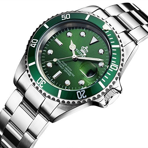 Fanmis Green Dial Rotatable Bezel Sapphire Glass Luminous Hand Quartz Mens Womens Stainless Steel -