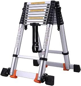LADDER Escaleras telescópicas, Escalera de extensión telescópica de aluminio multiusos, Escalera telescópica de ingeniería de servicio pesado para jardín de almacén, Capacidad de 330 lb: Amazon.es: Bricolaje y herramientas